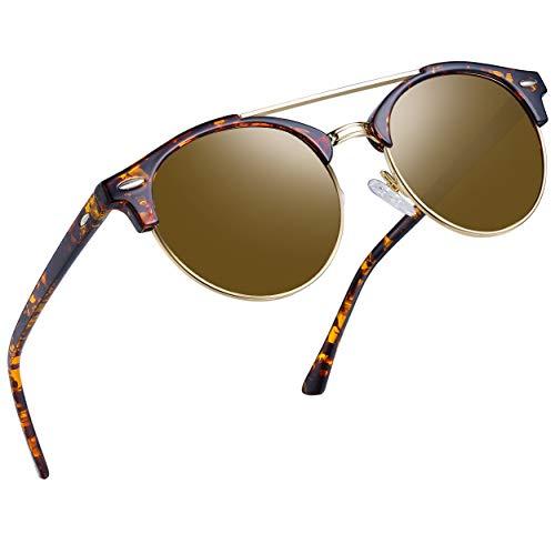 (Joopin Vintage Round Sunglasses for Women Retro Brand Polarized Sun Glasses E3447 (Double Bridge Brown Lens))