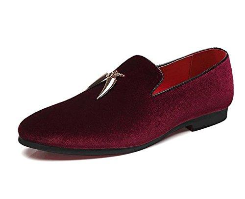 XIUWU Men's Suede Formal Dress Oxford Shoes Pointed Toes Footwear US8.5 Wine