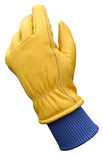 Leather Winter Work Gloves, Water Resistant, Thinsulate