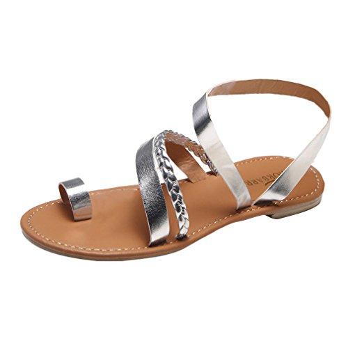 Astilla para Plano Sandalias Zapatos Sandalias Cintas Casual Boho Ponerse Moda Verano Abierta Sandalias Punta Gladiador Chancletas Respirable Playa Mujer Señoras Yying REXUwdqR