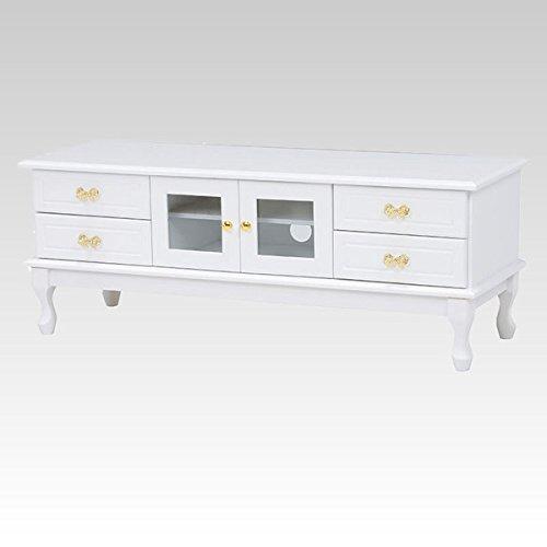 ホワイト色(白色)テレビ台 120幅ローボード ドレッシーな猫足 エレガントなデザイン 完成品 B071WHCH11