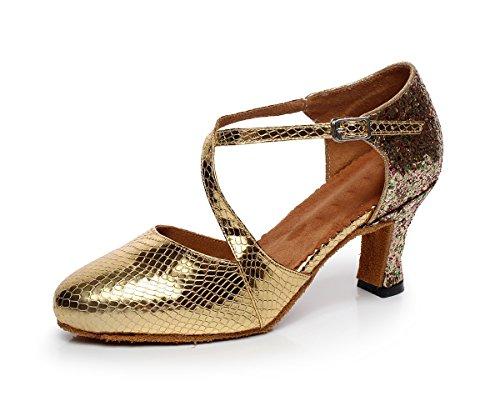 nbsp;donna Latina Punta Gold Minitoo Tango Scarpe Da Salsa Qj7045 Ballo Sintetica Chiusa T4H5wpnq
