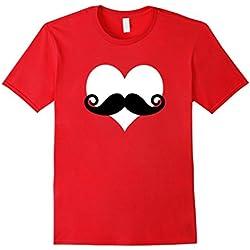 Men's Mustache Heart Valentines Day T-Shirt 2XL Red