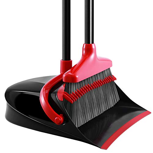 - Broom and Dustpan Set, Homemaxs Long Handle Broom with Dustpan, Upright Dustpan with Upgrade Combo for Thorough Sweeping, Good Grip Dustpan and Lobby Broom for Pet Hair