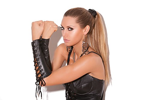 Sexy Women's Leather Lace Up Gloves Fetish Role Play Costume Accessory ()