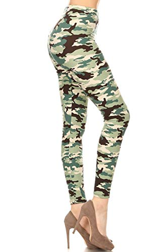 S721-3X5X Sage Camouflage Print Leggings, 3X5X