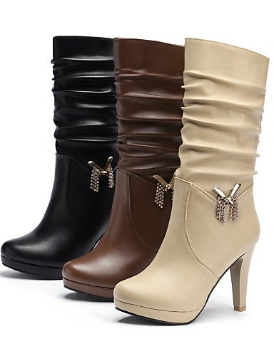 Mujer De Moda Eu35 Negro beige Brown Cn39 Semicuero Punta Uk3 Eu39 us5 Cn34 marrón us8 Zapatos Stiletto Uk6 Tacón Brown A Redonda Vestido Xzz La Botas botas E5SqPA6wnx