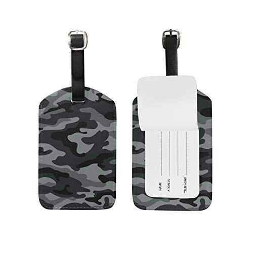 Camouflage Luggage Tag - Travel Luggage Tag Army Camouflage Black And Gray PU Leather Baggage Suitcase Travel ID Bag Tag, 1Pcs