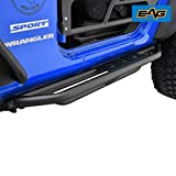 EAG Side Steps Armor Fit for 07-18 Jeep Wrangler JK 2 Door Rock Sliders Nerf Bars Running Board Rail Step