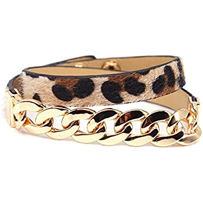 ZUOZUO Leather Wristband Vintage Leopard Print Accessories Double Wrap Leather Bracelet Unisex Bracelet Estimated Price £18.99 -