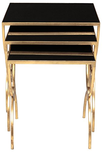 Collection Gold Leaf Finish - Safavieh American Homes Collection Bayou Gold Leaf and Black Glass Couture Nesting Tables