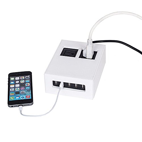 G.U.S. White Leatherette Power Hub Charging Station, with 5-USB + 2-AC Ports, Desk Top Electronics and Cord Management Organizer, Available in 4 Decorative Finishes