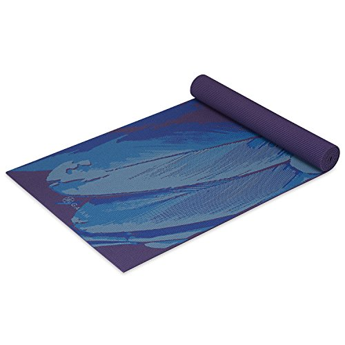 Gaiam Yoga Mat Classic Print Non Slip Exercise & Fitness Mat for All Types of Yoga, Pilates & Floor Exercises, Lapis Feather, 4mm