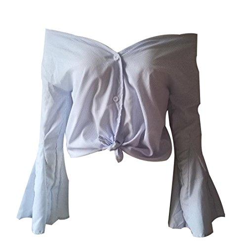 Manches Manches Loose Femmes LULIKA Blouse Stripe Blanc VasEs Slash Longues Tops Neck CxaHUqHt