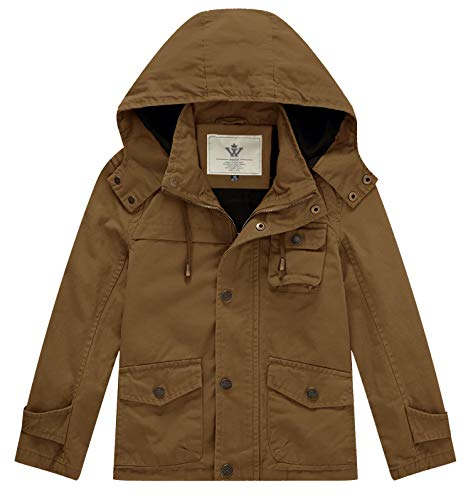 WenVen Boy's and Girl's Hooded Cotton Active Jacket, Brown, 4-5Y