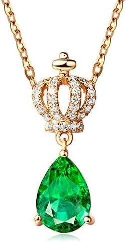 QKL Collar Clásico De Piedras Preciosas con Gota De Agua De Corona De Circón Hembra, Cadena De Clavícula Esmeralda