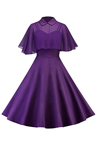 Sinastar Women's Solid Color Vintage Strappy Billowing Casual Dress with Voile Cape ()