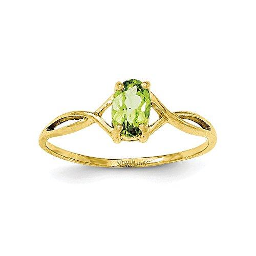 10k Yellow Gold Oval Prong set Polished Peridot Ring - Size 6