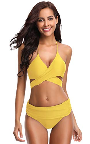 SHEKINI Women's Push-up Halter Bandage Ruched High Waisted Bottoms Bikini Swimsuits (Medium, Lily Yellow)