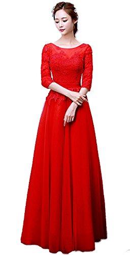 Minetom Vestido De Novia Cuello Redondo Mujer Encaje Hombro Longitud Del Boda Larga Elegante Manga 3/4 Vintage Coctel Largo Dama De Honor Wedding Dress Rojo