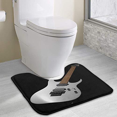 Beauregar Colorful Guitar Contour Bath Rugs,U-Shaped Bath Mats,Soft Polyester Bathroom Carpet,Nonslip Toilet Floor MatMachine Wash, 19.2″x15.7″