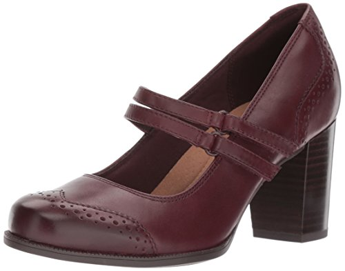 Clarks Women's Claeson Tilly Dress Pump, Burgundy Leather, 6.5 W US