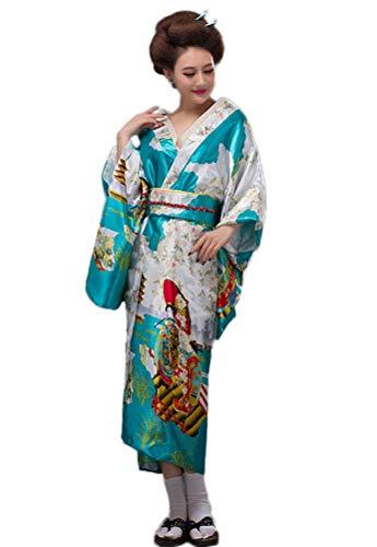 Soojun Women's Traditional Japanese Kimono Style Robe Yukata Costumes, Style3- Sky Blue, US 2-10 -