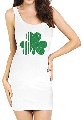 TeeStars - Saint Patrick's Day Irish Shamrock Four-Leaf Clover Tunic Small White