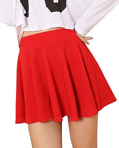 Femmes vase Jupe Basique Plisse Patineuse Fille Elastique Court Mini Jupe Rouge