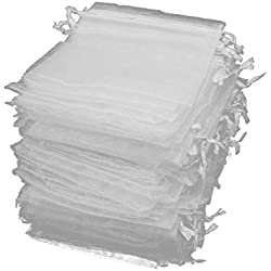 Jaciya 100 Pack Organza Gift Bags White Wedding Party Favor Bags Jewelry Pouches Wrap (4 x 4.72 Inches)