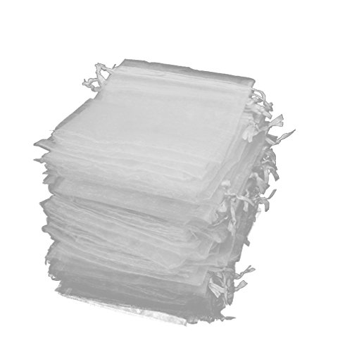 Jaciya 100 Pack Organza Gift Bags White Wedding Party Favor Bags Jewelry Pouches Wrap (4 x 4.72 Inches) (Soap Supplies Packaging)