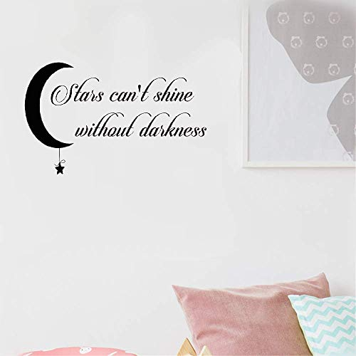 Perlk Vinyl Decal Quote Art Wall Sticker Inspirational Quotes Motivation Stars Can't Shine Without Darkness Inspiring for Nursery Kids Room Bedroom Living Room