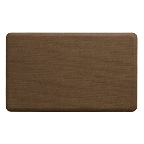 "NewLife by GelPro Anti-Fatigue Designer Comfort Kitchen Floor Mat, 18x30"", Modern Grasscloth Khaki Stain Resistant Surface with 5/8"" thick ergo-foam core for health and wellness"