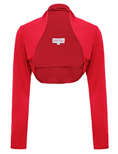 Lightweight Soft Long Sleeve Cardigan Shrug (M,Red)