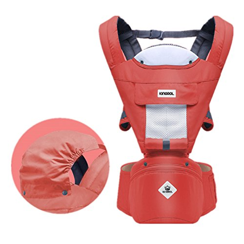360 Ergonomic Baby Carrier Adjustable Backpack with Hip Seat, 12 Positions All Seasons Summer, Baby Diaper Bag with Large Capacity, Breathable Mesh Safe Comfortable, for Infant/Toddler/Newborn,Red