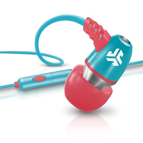 JLab Audio  NEON Metal In-Ear Earbuds with Universal Mic for iPhone & Android, GUARANTEED FOR LIFE - Coral/Teal