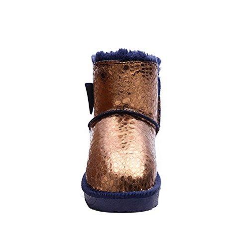 AllhqFashion Damen Rund Zehe Niedriger Absatz Blend-Materialien Poliert Stiefel Golden