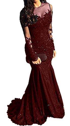 HelloLadyBridal Women's Illusions Lace Mermaid Prom Dress Long Sleeves Evening Formal Gown Burgundy 18