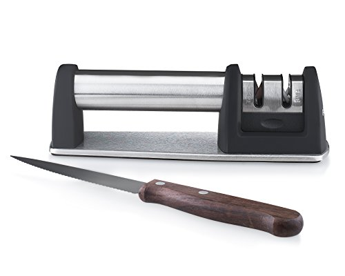 Gourmia GSH9720 Knife Sharpener 2 Stage Portable Honing Stone with Coarse & Extra Fine Sharpening Features Built in Handle