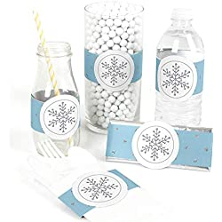 Winter Wonderland - DIY Party Supplies - Snowflake Holiday Party & Winter Wedding DIY Wrapper Favors & Decorations - Set of 15