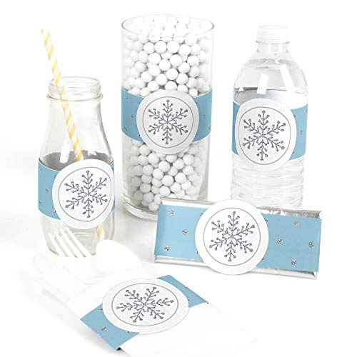 Winter Wonderland 15 Theme (Big Dot of Happiness Winter Wonderland - DIY Party Supplies - Snowflake Holiday Party and Winter Wedding DIY Wrapper Favors and Decorations - Set of)