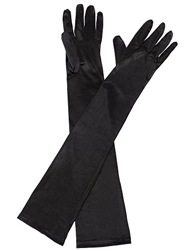 Elbow Length Gloves Black (eBoot Opera Gloves 1920s Long Glove Classic Satin Elbow Length Gloves for Women, Adult Size (Black))