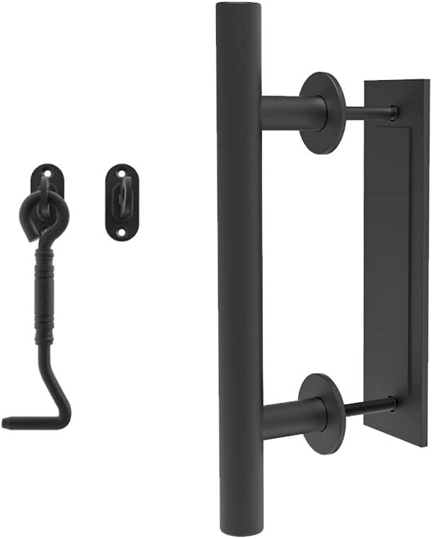 "Homlux Heavy Duty 12"" Pull and Flush Sliding Barn Door Handle Set with Privacy Latch Hook Black Powder Coated Finish Round Shape for Interior Exterior Doors Garages, Black"