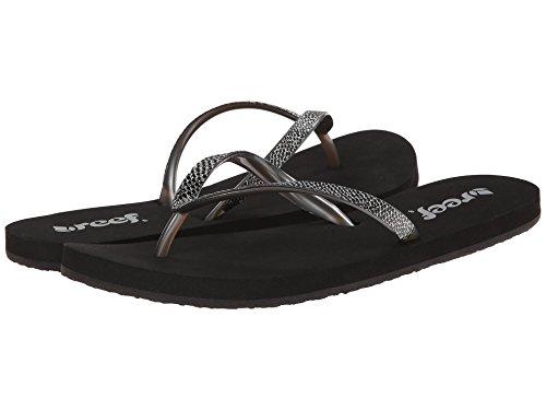 Reef Women's Stargazer Sassy Sandal, Black/Silver, 8 M US