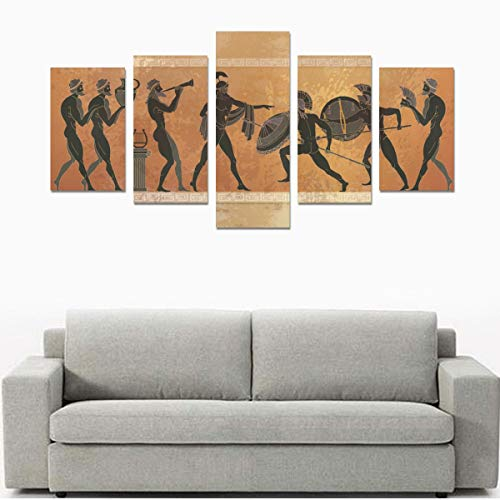 Black Pottery Ancient Greek Mythology Canvas Print Sets Wall Art Picture 5 Pieces Paintings Posters Prints Photo Image On Canvas Ready To Hang For Living Room Bedroom Home Office Wall - Greek Vases Art