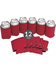 Koozie Can Cooler Blank Beer Koozie for Cans and Water Bottles, Bulk DIY Insulated Beverage Holder Personalized Gifts for Events, Bachelorette Parties, Weddings, Birthdays - Pack of 12 Sleeves (Red)