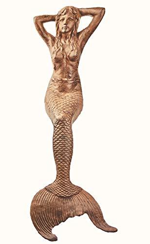 "americana-r-us 48"" Sitting Sunning Mermaid Statue Iron Rust Finish"