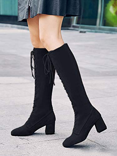 Boots Block Winter Up Lace Boots Heels Fashion Autumn Tomwell Black Retro Long Women Shoes Boots High Casual Martin Classic zEqZxw7ZB