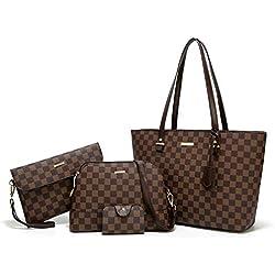 ELIMPAUL Women Fashion Handbags Tote Bag Shoulder Bag Top Handle Satchel Purse Set 4pcs (coffee-C)