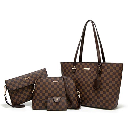 ELIMPAUL Women Fashion Handbags Tote Bag Shoulder Bag Top Handle Satchel Purse Set 4pcs (coffee-C)